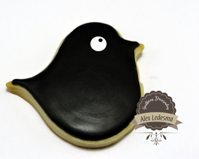 galleta decorada pajarito negro